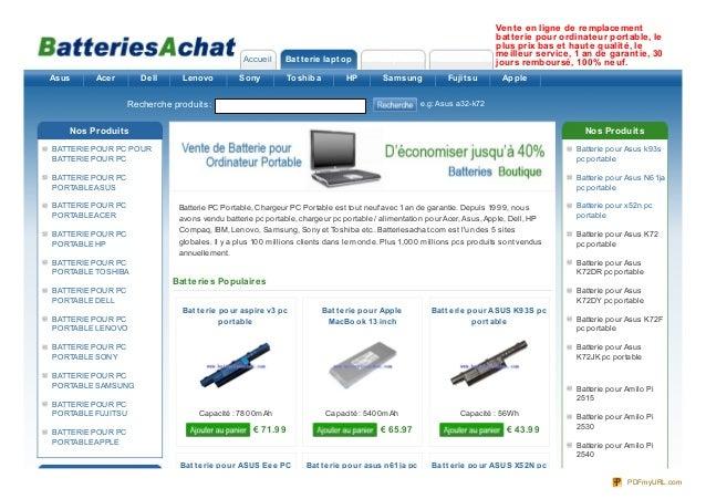 Accueil Batterie laptop AC Adaptateur NouveauxVente en ligne de remplacementbatterie pour ordinateur portable, leplus prix...