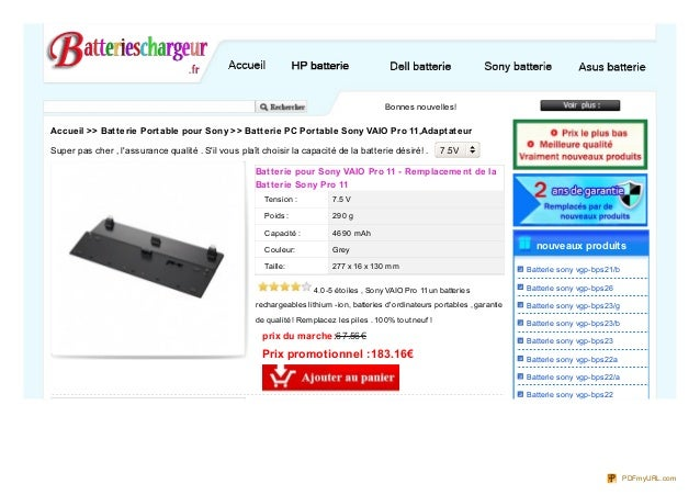 Bonnes nouvelles! Nous fournissons la plus haute qualité batterie pour Sony VAIO Pro 11 , haute Accueil >> Batterie Po...