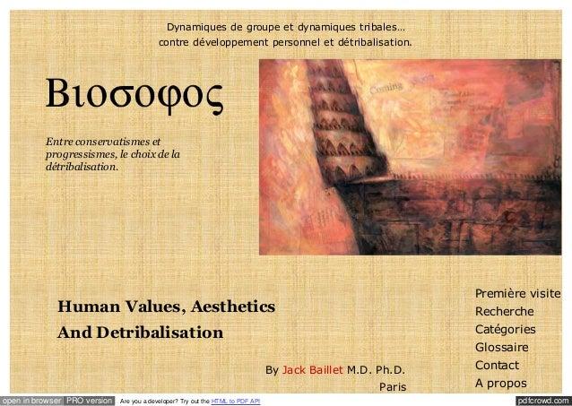 Dynamiques de groupe et dynamiques tribales… contre développement personnel et détribalisation.  Entre conservatismes et p...