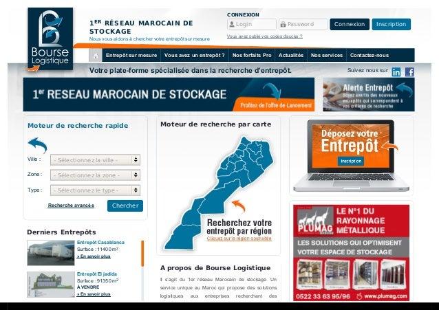 1 RÉSEAU MAROCAIN DE STOCKAGE Nous vous aidons à chercher votre entrepôt sur mesure Votre plate-forme spécialisée dans la ...