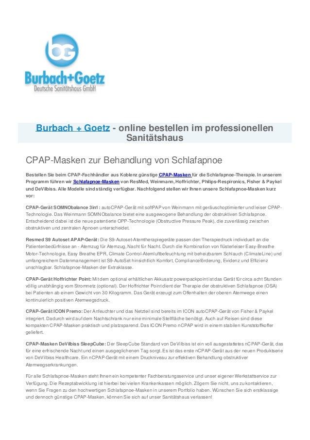 Burbach + Goetz - online bestellen im professionellen Sanitätshaus CPAP-Masken zur Behandlung von Schlafapnoe Bestellen Si...