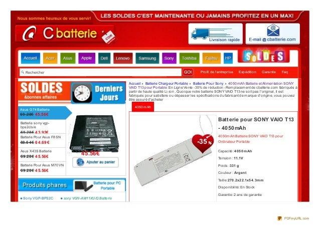 Rechercher Profil de lentreprise Expédition Garantie Faq4050mAh4050mAh Batterie SONY VAIO T13 pourOrdinateur PortableCapac...
