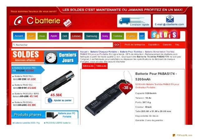Rechercher Profil de l'entreprise Expédition Garantie Faq 5200mAh 7800mAh 5200mAh Batterie Toshiba PABAS174 pour Ordinateu...