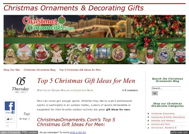Christmas Ornaments & Decorating Gifts  Shop Our Site ✪ Christmas Ornaments Blog ✪ Top 5 Christmas Gift Ideas for Men  05 ...