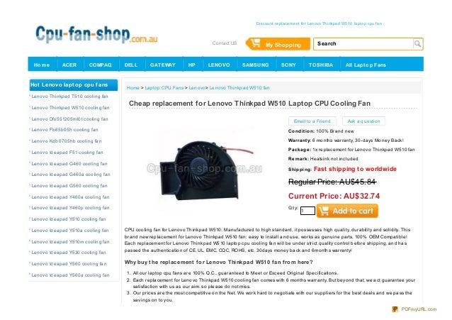 Replacement IBM Lenovo ThinkPad W510 Series CPU Fan