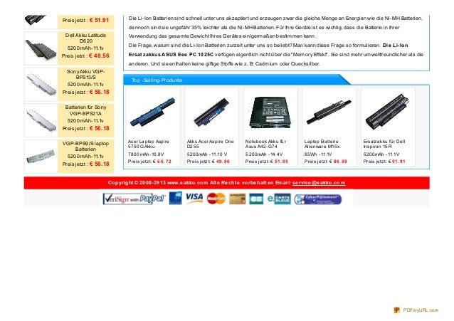 Acer Laptop Aspire5750G Akku7800mAh-10.8VPreis jetzt: € 6 6 .72Akku Acer Aspire OneD2555200mAh -11.10 VPreis jetzt: € 4 9....