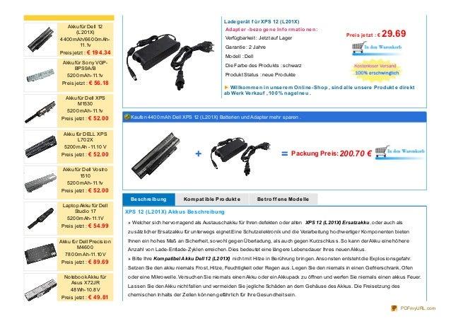 Ladegerät f ür XPS 12 (L201X) Adapt er -bezogene Inf ormat ionen: Verfügbarkeit : Jetzt auf Lager Garantie : 2 Jahre Model...