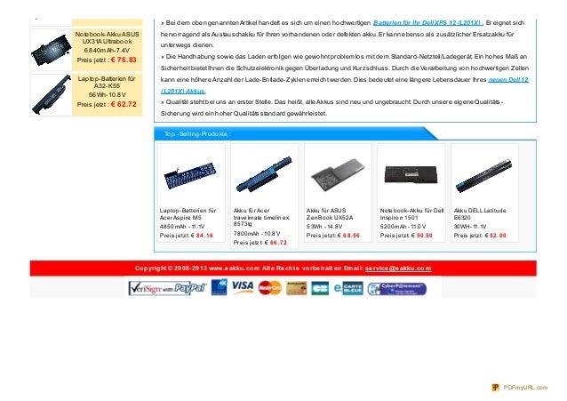 Laptop-Batterien für Acer Aspire M5 4850mAh -11.1V Preis jetzt: € 84 .16 Akku für Acer travelmate timelinex 8573tg 7800mAh...