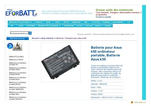 Avec www.ef orbatt.com plus de 15000 réf érence debatteries et chargeurs adaptateur pour pc portable en stockGrosse solde ...
