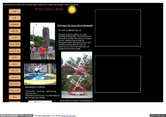 Carnival rides rock walls bumper cars ferris wheel company picnic college events Michigan, Indiana, Ohio, Illinois  Rides ...
