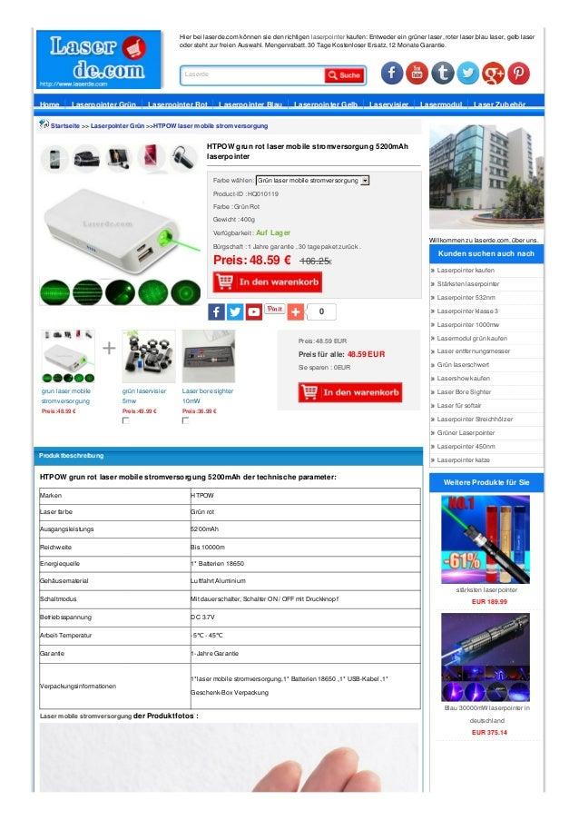 Hier bei laserde.com können sie den richtigen laserpointer kaufen: Entweder ein grüner laser, roter laser,blau laser, gelb...