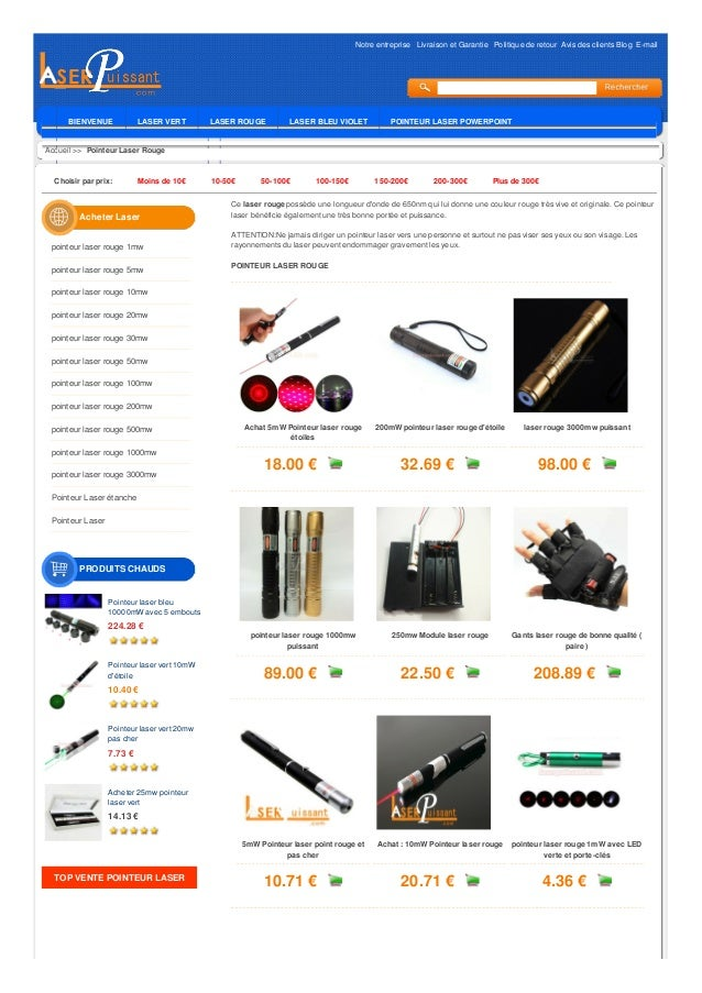 Notre entreprise Livraison et Garantie Politique de retour Avis des clients Blog E-mail BIENVENUE LASER VERT LASER ROUGE L...