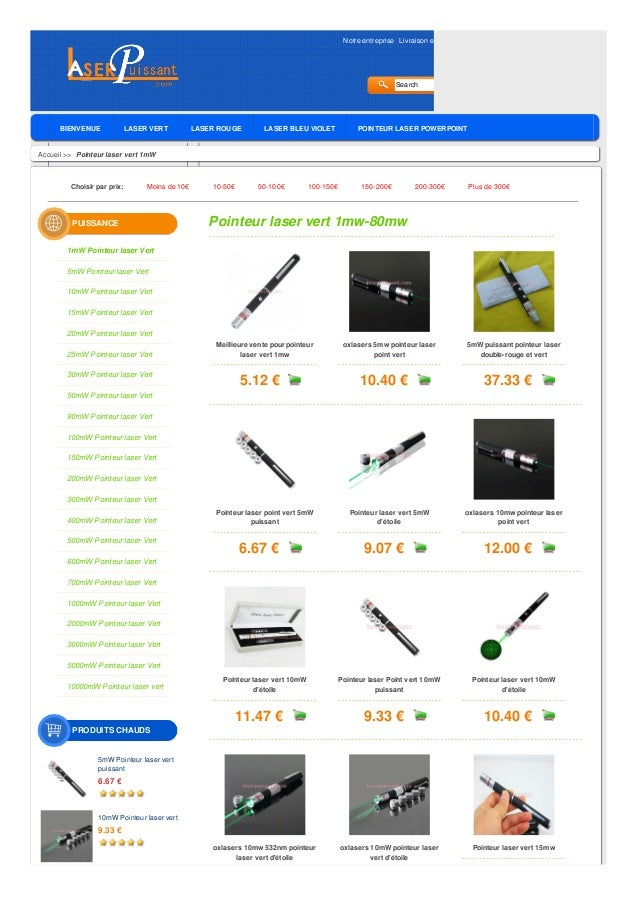 Notre entreprise Livraison et Garantie Politique de retour Avis des clients Blog  Search  BIENVENUE  LASER VERT  LASER ROU...