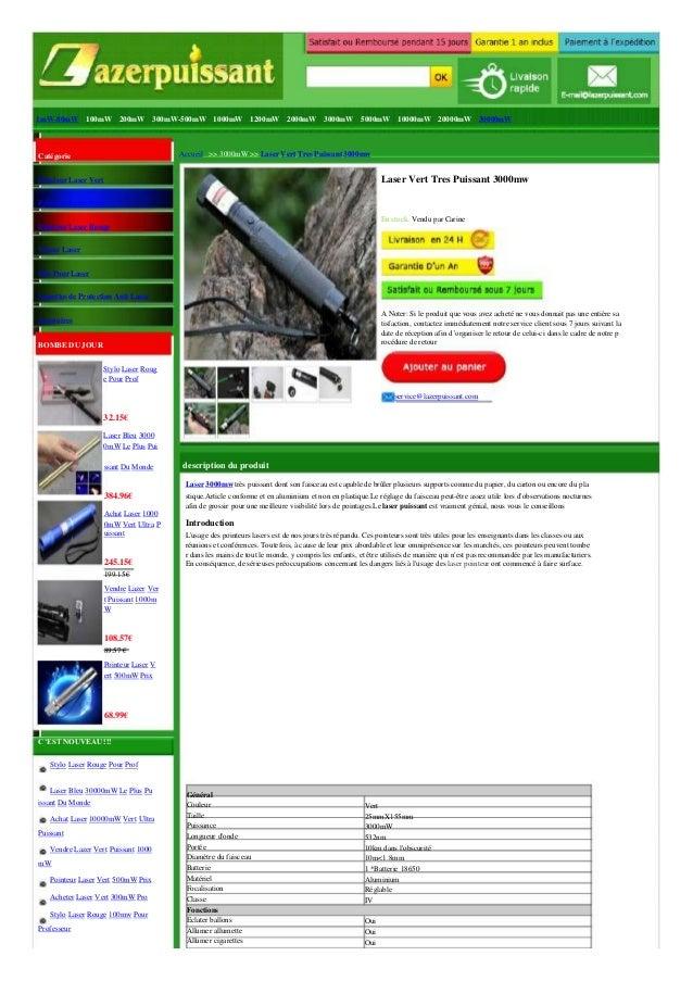 1mW-80mW 100mW 200mW 300mW-500mW 1000mW 1200mW 2000mW 3000mW 5000mW 10000mW 20000mW 30000mW  Catégorie  Pointeur Laser Ver...