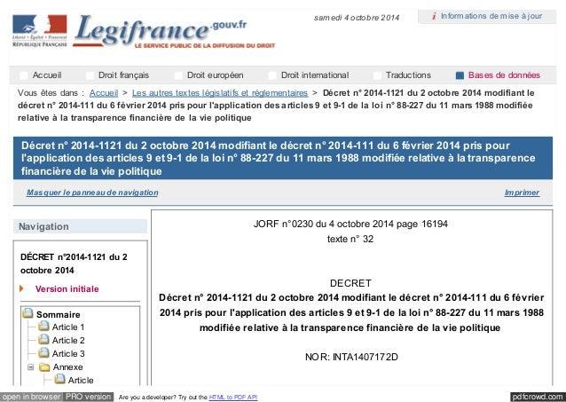 samedi 4 octobre 2014  Informations de mise à jour  Accueil Droit français Droit européen Droit international Traductions ...