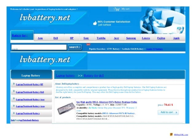 My cartWelcome to Lvbattery.net to purchase of laptop batteries and adapters ! Battery for : Asus Dell HP Sony Toshiba Ace...