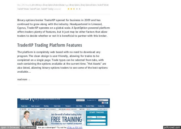 Binary options trading api