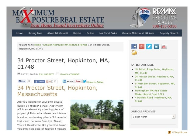 You are here: Home / Greater Metrowest MA Featured Homes / 34 Proctor Street, Hopkinton, MA, 01748 34 Proctor Street, Hopk...