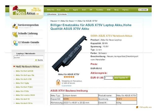 Akku für: Ace r Asus Apple De ll HP Toshiba IBM Sony FujitsuHause >> Akku für Asus >> Akku für ASUS X75VBilliger Ersatzakk...