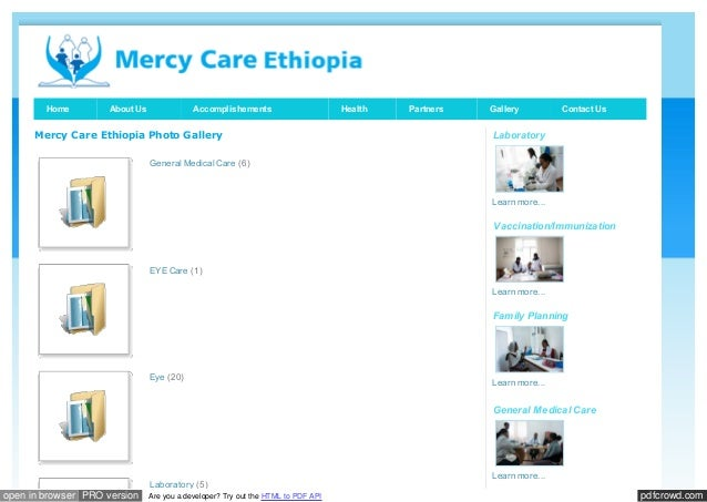 Home  About Us  Accomplishements  Mercy Care Ethiopia Photo Gallery  Health  Partners  Gallery  Contact Us  Laboratory  Ge...