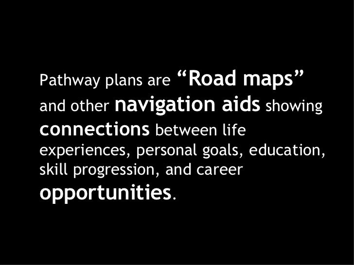 """Pathway plans are  """"Road maps""""  and other  navigation aids  showing  connections   between life experiences, personal goal..."""