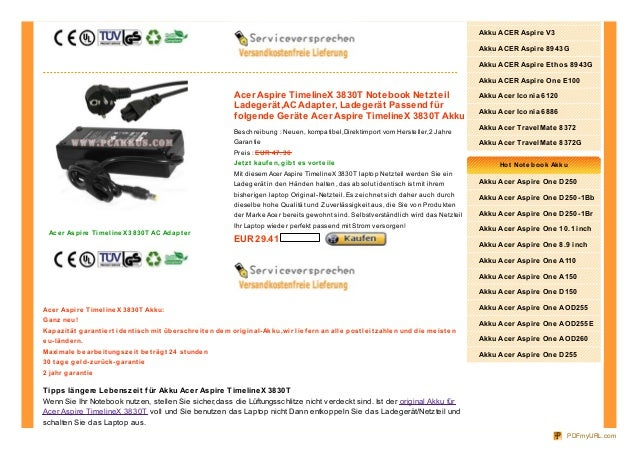 Acer Aspire TimelineX 3830T Notebook NetzteilLadegerät,AC Adapter, Ladegerät Passend fürfolgende Geräte Acer Aspire Timeli...
