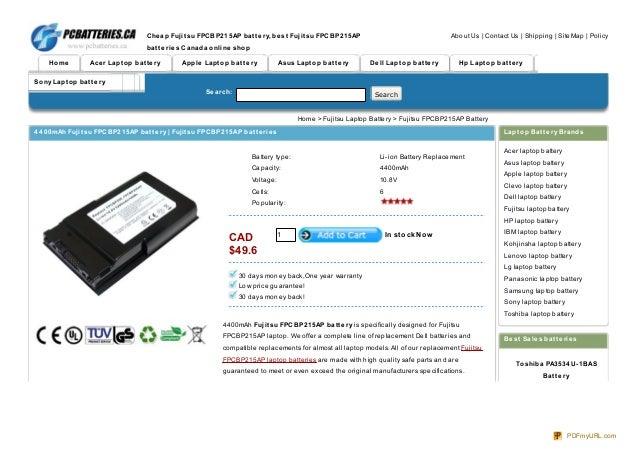 high quality 4400mAh Fujitsu FPCBP215AP battery at www