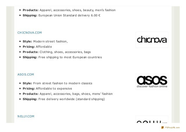 List of online shopping sites in europe for Online shopping websites list