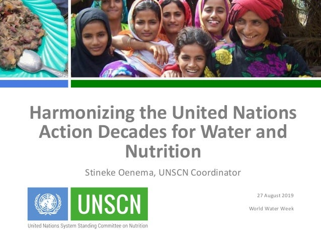 27 August 2019 World Water Week Harmonizing the United Nations Action Decades for Water and Nutrition Stineke Oenema, UNSC...