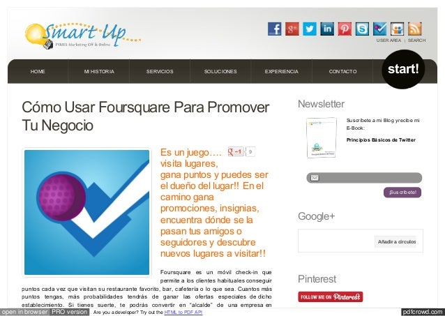 pdfcrowd.comopen in browser PRO version Are you a developer? Try out the HTML to PDF APICómo Usar Foursquare Para Promover...