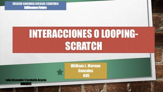 William L. Moreno Gonzales 805 COLEGIO NACIONAL NICOLAS ESGUERRA Edificamos Futuro INTERACCIONES O LOOPING- SCRATCH John A...