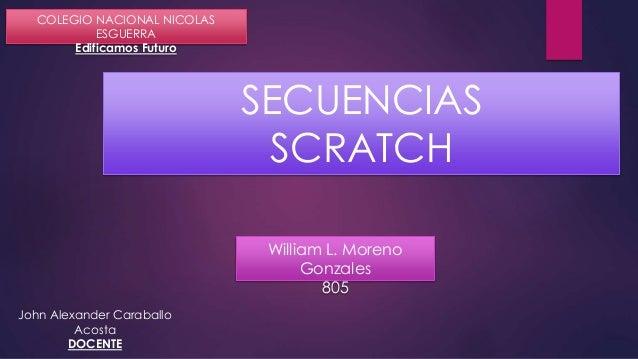 William L. Moreno Gonzales 805 COLEGIO NACIONAL NICOLAS ESGUERRA Edificamos Futuro SECUENCIAS SCRATCH John Alexander Carab...