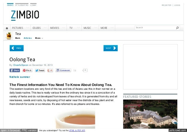 ZIMBIO  STYLEBISTRO  REGISTER | LOGIN  LONNY  PICTURES  CELEBS  MOVIES  TV  MUSIC  MORE  Search  Tea Main  Articles  More ...
