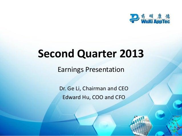 Second Quarter 2013 Earnings Presentation Dr. Ge Li, Chairman and CEO Edward Hu, COO and CFO