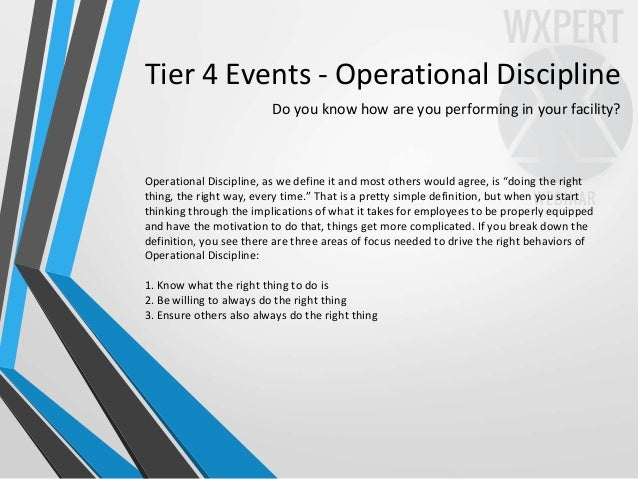 Tier 4 Events - Operational Discipline Do you know how are you performing in your facility? Operational Discipline, as we ...