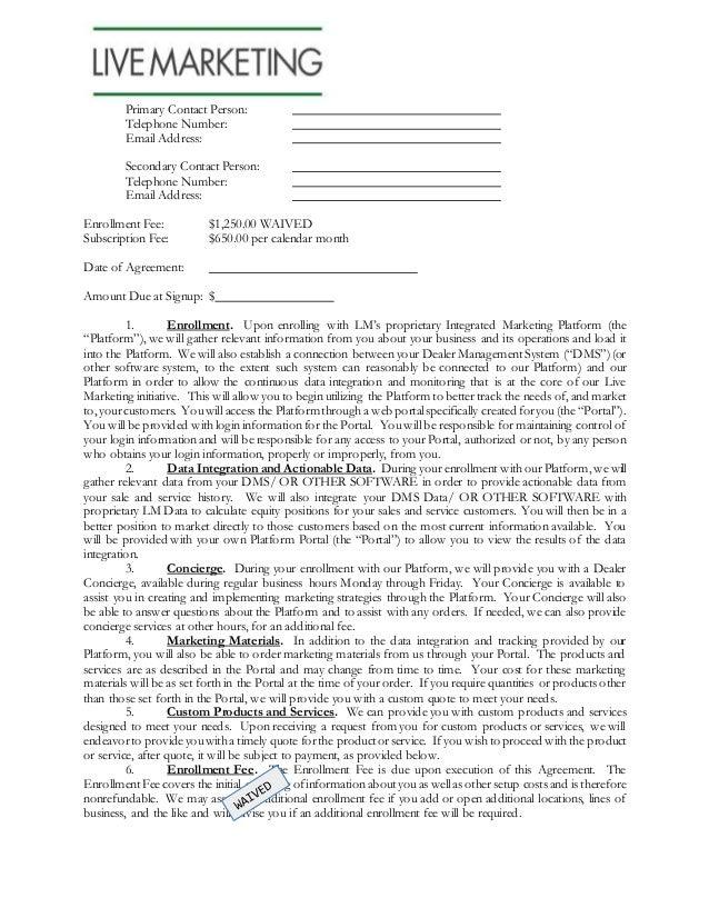 Live Marketing Dealer Agreement2014