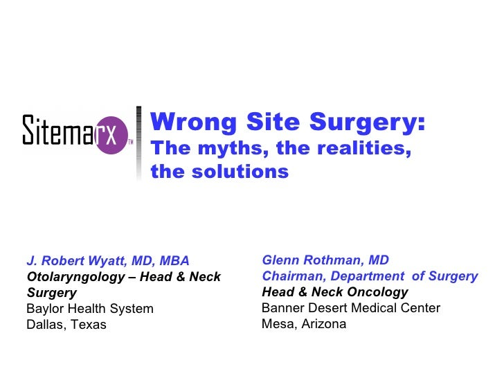 Wrong Site Surgery: The myths, the realities,  the solutions J. Robert Wyatt, MD, MBA Otolaryngology – Head & Neck Surgery...