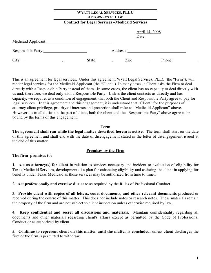 Wyatt Legal Services Pllc Attorneys At Law Contract For Legal