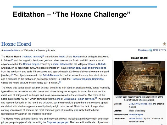 "Editathon – ""The Hoxne Challenge"""