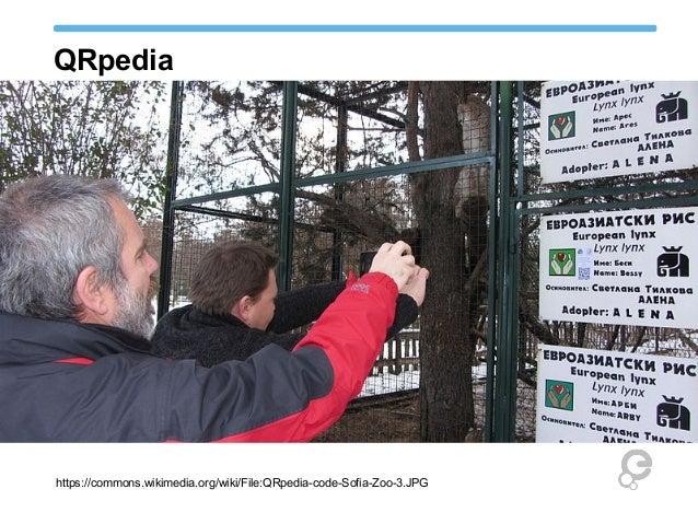 QRpedia https://commons.wikimedia.org/wiki/File:QRpedia-code-Sofia-Zoo-3.JPG