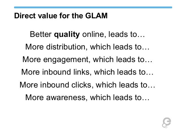 Direct value for the GLAM Better quality online, leads to… More distribution, which leads to… More engagement, which leads...