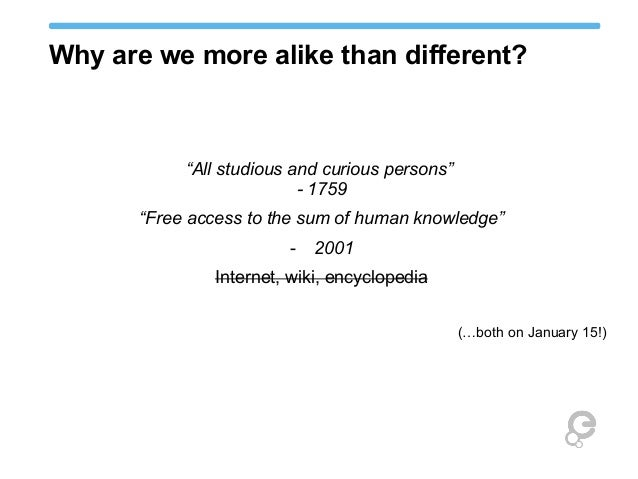 """Why are we more alike than different? """"All studious and curious persons"""" - 1759 """"Free access to the sum of human knowledge..."""