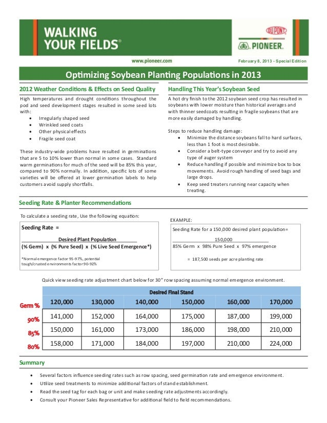 February 8, 2013 - Special Edition                       Optimizing Soybean Planting Populations in 20132012 Weather Condi...