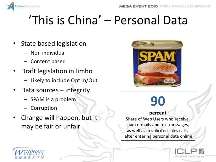 'This is China' – Personal Data• State based legislation   – Non individual   – Content based• Draft legislation in limbo ...