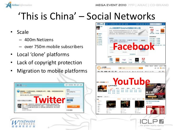'This is China' – Social Networks• Scale   – 400m Netizens   – over 750m mobile subscribers   Facebook• Local 'clone' plat...