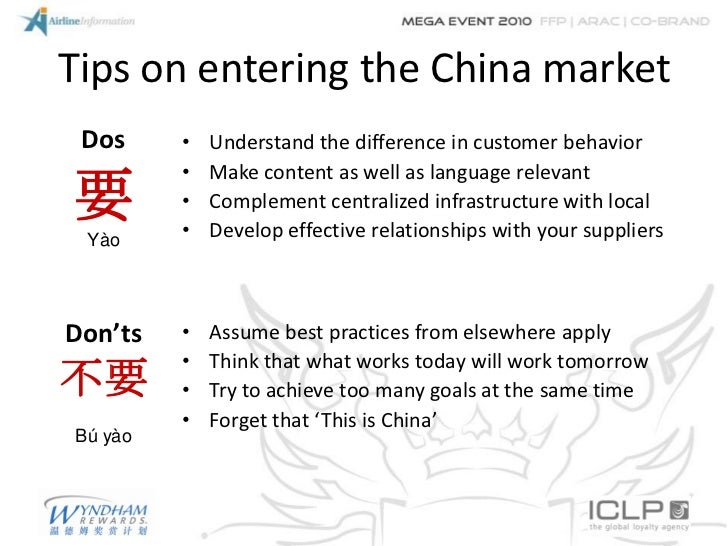 Tips on entering the China market Dos     •   Understand the difference in customer behavior         •   Make content as w...