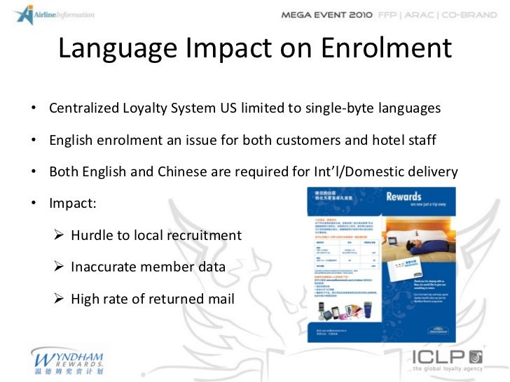 Language Impact on Enrolment• Centralized Loyalty System US limited to single-byte languages• English enrolment an issue f...