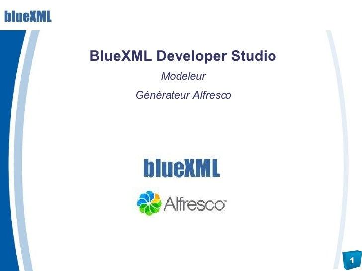 <ul><li>BlueXML Developer Studio </li></ul><ul><li>Modeleur </li></ul><ul><li>Générateur Alfresco </li></ul>