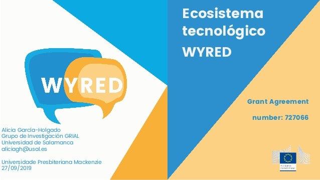 Ecosistema tecnológico WYRED Grant Agreement number: 727066 Alicia García-Holgado Grupo de Investigación GRIAL Universidad...
