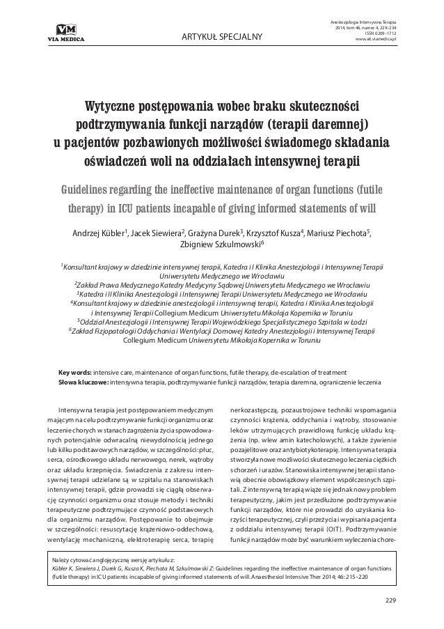 229 ARTYKUŁ SPECJALNY Anestezjologia Intensywna Terapia 2014, tom 46, numer 4, 229–234 ISSN 0209–1712 www.ait.viamedica.pl...
